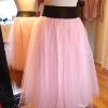 Cristina | custom pink tulle skirt with a black velvet waistband and side vintage zipper and a pink satin underskirt.