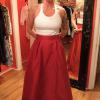 Tami | Custom Ballgown Skirt in Red Taffeta - Front View