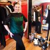 Anita | custom emerald green silk blouse with black lace sleeves