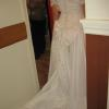 Stacey before Vintage wedding gown